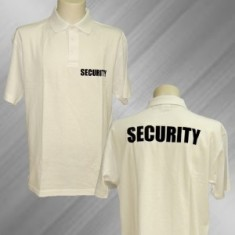 Polo biela 2x flok SECURITY